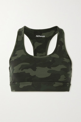 All Access Front Row Camouflage-print Stretch Sports Bra - Army green
