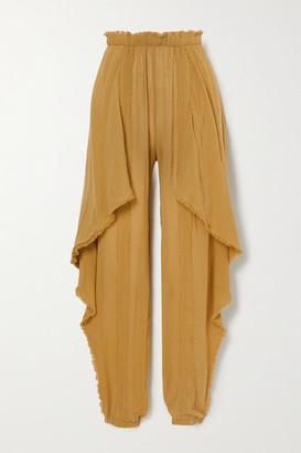 CARAVANA Net Sustain Baaxal Draped Frayed Cotton-gauze Pants - Mustard