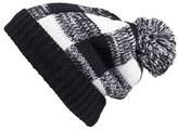BP Women's Check Pompom Knit Beanie - Black