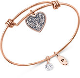 Unwritten Rose Gold-Tone Stainless Steel Heart Charm Bangle Bracelet