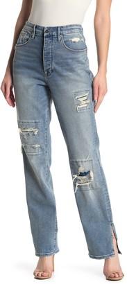 Good American Good Boy Ripped Straight Leg Jeans (Regular & Plus Size)