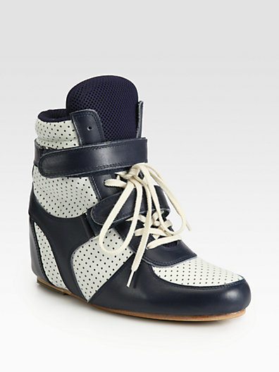 Junya Watanabe Bicolor Leather Lace-Up Wedge Sneakers