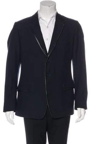 Dolce & Gabbana Wool-Blend Leather-Trimmed Blazer