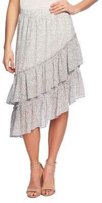 1.STATE Leopard-Print Mesh Asymmetrical Midi Skirt