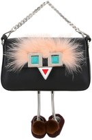 Fendi Micro Baguette Faces Leather Bag W/ Fur