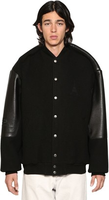 Balenciaga Pinched Sleeves Leather College Jacket