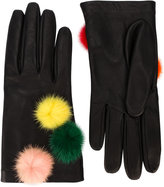 Fendi gloves with pompoms - women - Silk/Lamb Skin/Mink Fur - One Size