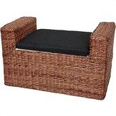 Oriental Furniture Rustic Window Seat Trunk, 26-Inch Rush Grass Storage Bench