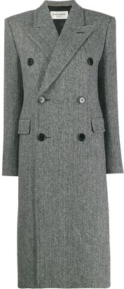 Saint Laurent chevron double-breasted coat