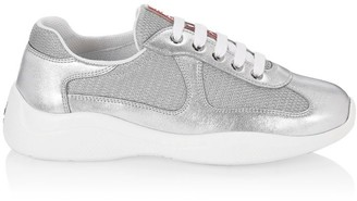 Prada Metallic Mesh & Leather Sneakers
