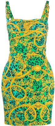 Versace Baroque Leopard Mini Dress