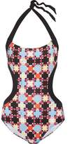 Emilio Pucci Open-Back Printed Halterneck Swimsuit