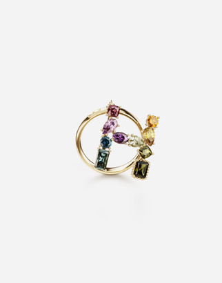 Dolce & Gabbana Rainbow Alphabet H 18 Kt Yellow Ring With Multicolor Fine Gems
