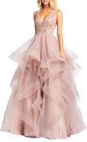 Mac Duggal 6-Week Shipping Lead Time Sleeveless Ruffle Tiered Organza Ball Gown