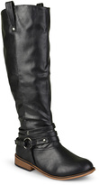 Journee Collection Black Walla Extra Wide-Calf Boot