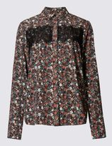 Marks and Spencer Lace Panel Ditsy Floral Shirt