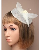 Inca Cream Fascinator on Headband/ Clip-in for Weddings, Races and Occasions-5201