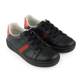 Black Lace Up Leather Trainers