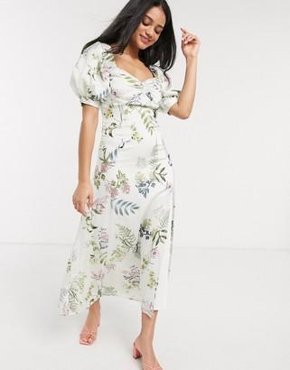 We Are Kindred eloise floral midi tea dress in ecru delphinium