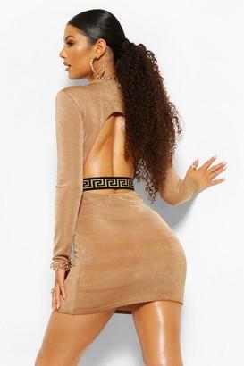 boohoo Geo Tape Textured Slinky Open Back Dress