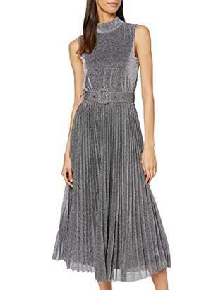 Warehouse Women's Metallic Pleated Midi Dress