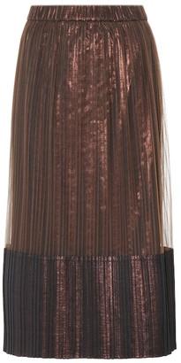 Brunello Cucinelli Metallic pleated midi skirt