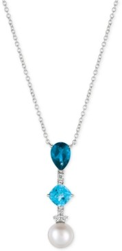 LeVian Le Vian Blue Topaz (3-3/4 ct. t.w.), White Cultured Freshwater Pearl (10mm) and Diamond (1/6 ct. t.w.) Pendant Necklace in 14k White Gold