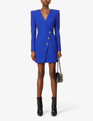 Balmain Double-breasted wool mini wrap dress