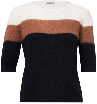 Dorothee Schumacher Colorful Flash Pullover in Caramel/Blue Colorblock