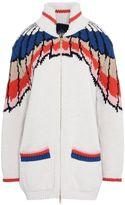 Stella McCartney feather print zip knit cardigan