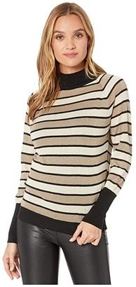 Chaser Striped Lurex Turtleneck Sweater (Black/Gold Stripe) Women's Clothing