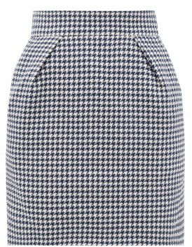 Alexandre Vauthier Houndstooth Cotton-blend Mini Skirt - Womens - Navy White
