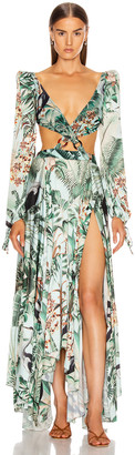 PatBO Eden Print Cut Out Maxi Dress in Verde | FWRD