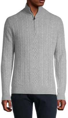 Saks Fifth Avenue Cashmere Cable-Knit Half-Zip Sweater