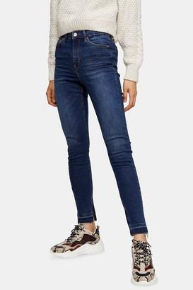 Topshop Indigo Split Hem Jamie Skinny Jeans