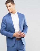 Asos Slim Blazer in Blue Washed Cotton