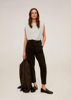 MANGO Shoulder pad cotton t-shirt grey - M-L - Women