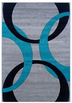 Linon Corfu Collection Grey/ Turquoise Area Rug (5' x 7'7)
