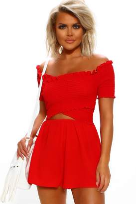 Pink Boutique Little Senorita Red Shirred Off The Shoulder Cut Out Playsuit