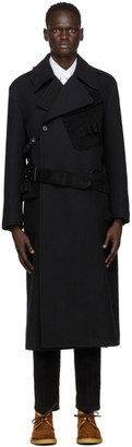 Dolce & Gabbana Black Wool Double-Breasted Trench Coat