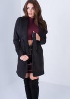 Missy Empire Sally Black Suede Waterfall Coat