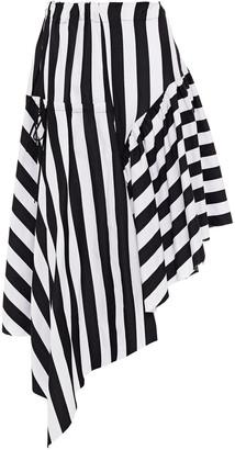 Marques Almeida Asymmetric Gathered Striped Cotton Midi Skirt