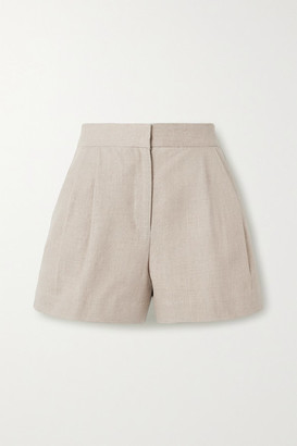 MICHAEL Michael Kors Pleated Linen Shorts - Beige