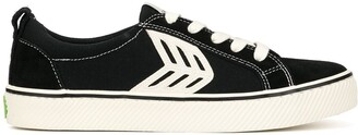 Cariuma CATIBA Low Stripe Black Suede and Canvas Contrast Thread Sneaker