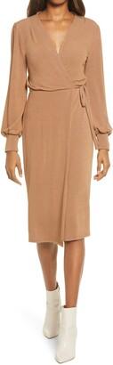 Fraiche by J Wrap Long Sleeve Midi Sweater Dress