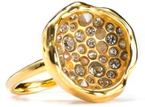 Crystal-Encrusted Gold Circle Cup Ring