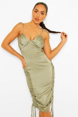boohoo Satin Ruched Midi Slip Dress