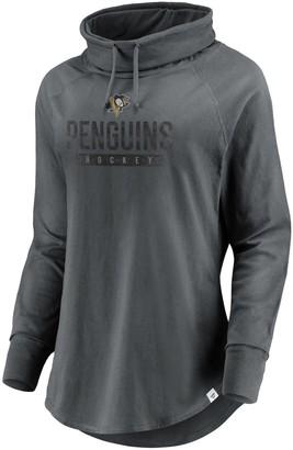 Women's Fanatics Branded Charcoal Pittsburgh Penguins Be A Pro Cowl Neck Sweatshirt