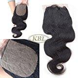 "KBL Grade 7A 4x4 Free Part Silk Base Closure 180% Density Brazilian Body Wave Virgin Human Hair Natural Black #1B (12"")"