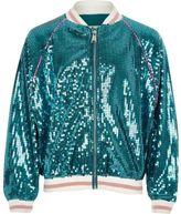 River Island Girls Blue sequin mermaid bomber jacket